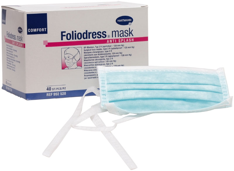 "Hartmann ""Foliodress"" mask Comfort Loop Маска мед операц.  3-слойная на завязках (голубой) N50"